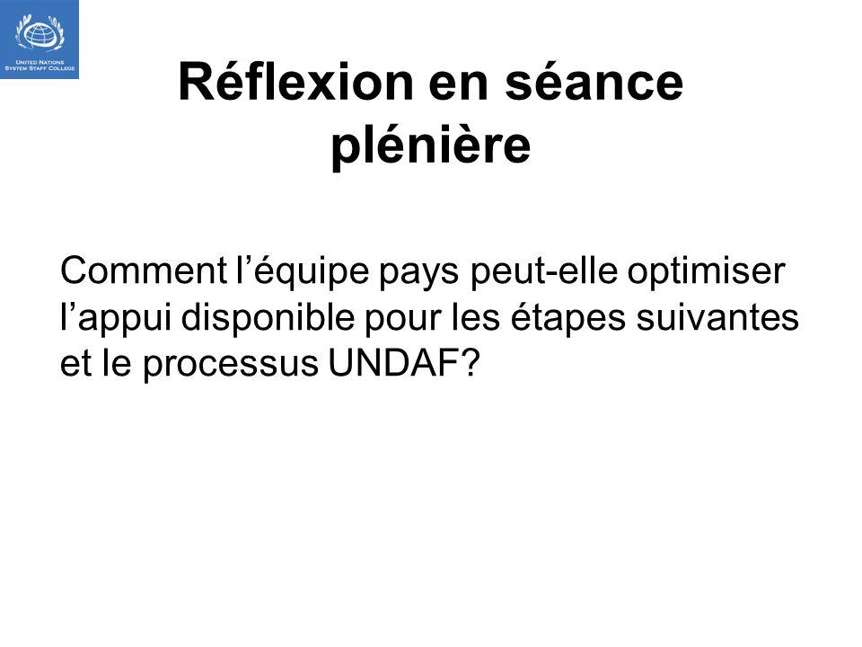 Réflexion en séance plénière Comment léquipe pays peut-elle optimiser lappui disponible pour les étapes suivantes et le processus UNDAF