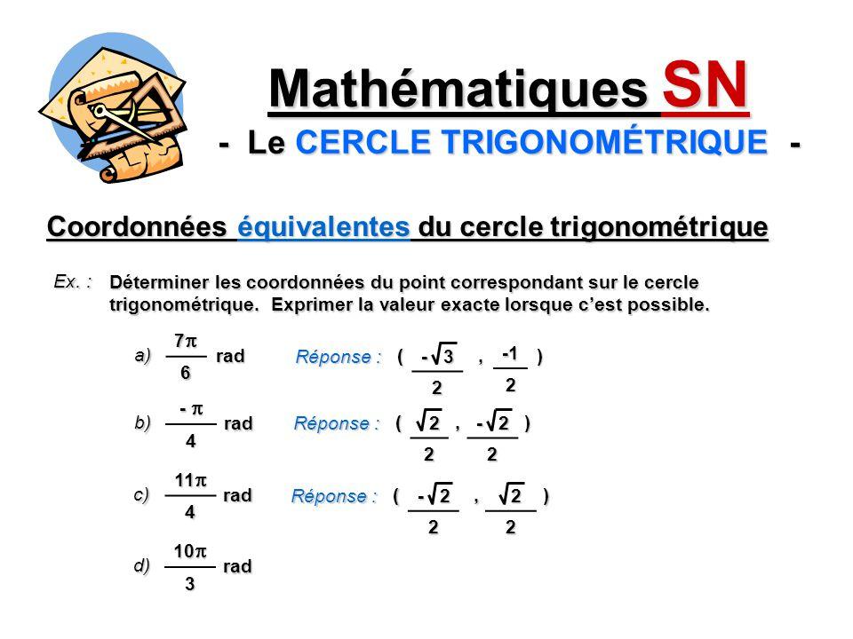 Coordonnées équivalentes du cercle trigonométrique Ex. : Déterminer les coordonnées du point correspondant sur le cercle trigonométrique. Exprimer la