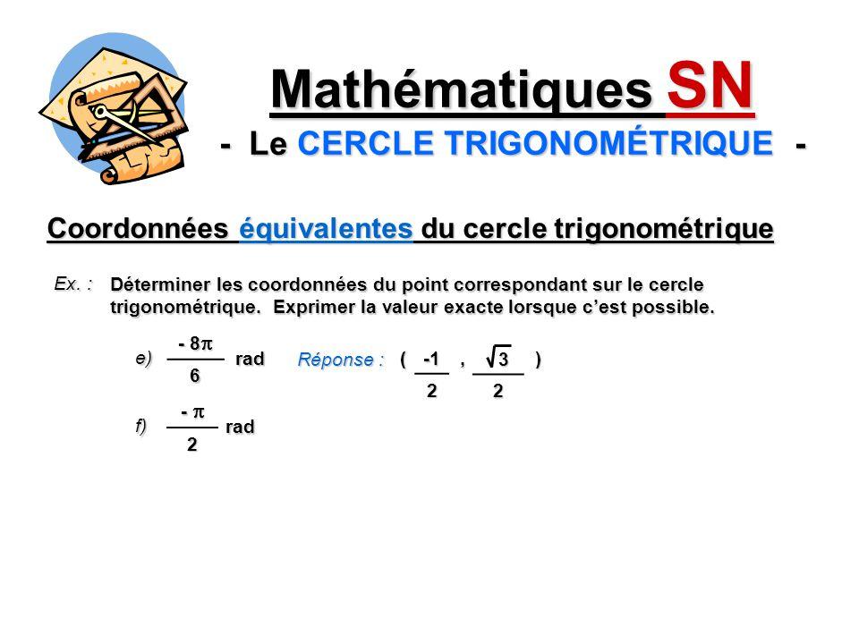 (, ) Coordonnées équivalentes du cercle trigonométrique Ex. : Déterminer les coordonnées du point correspondant sur le cercle trigonométrique. Exprime