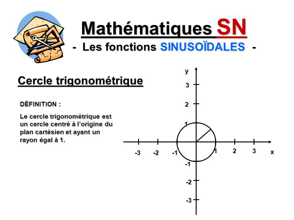 Mathématiques SN - Les fonctions SINUSOÏDALES - Cercle trigonométrique DÉFINITION : Le cercle trigonométrique est un cercle centré à lorigine du plan cartésien et ayant un rayon égal à 1.