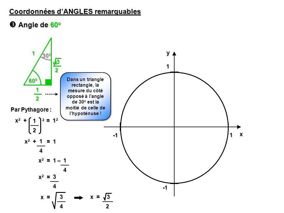 1 1yx Coordonnées dANGLES remarquables Angle de 60 o Angle de 60 o 60 0 1 30 0 Dans un triangle rectangle, la mesure du côté opposé à langle de 30 o est la moitié de celle de lhypoténuse .