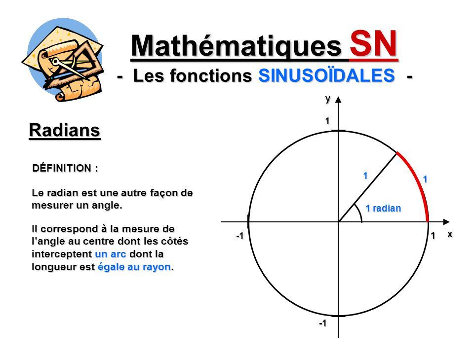 Mathématiques SN - Les fonctions SINUSOÏDALES - Radians DÉFINITION : Il correspond à la mesure de langle au centre dont les côtés interceptent un arc dont la longueur est égale au rayon.