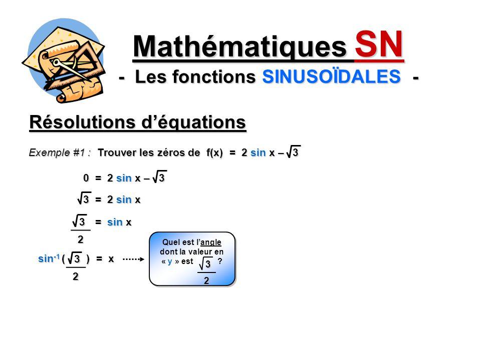 Mathématiques SN - Les fonctions SINUSOÏDALES - Résolutions déquations Exemple #1 : Trouver les zéros de f(x) = 2 sin x – 3 0 = 2 sin x – 3 3 = 2 sin x 32 = sin x 32 sin -1 ( ) = x Quel est langle dont la valeur en « y » est .