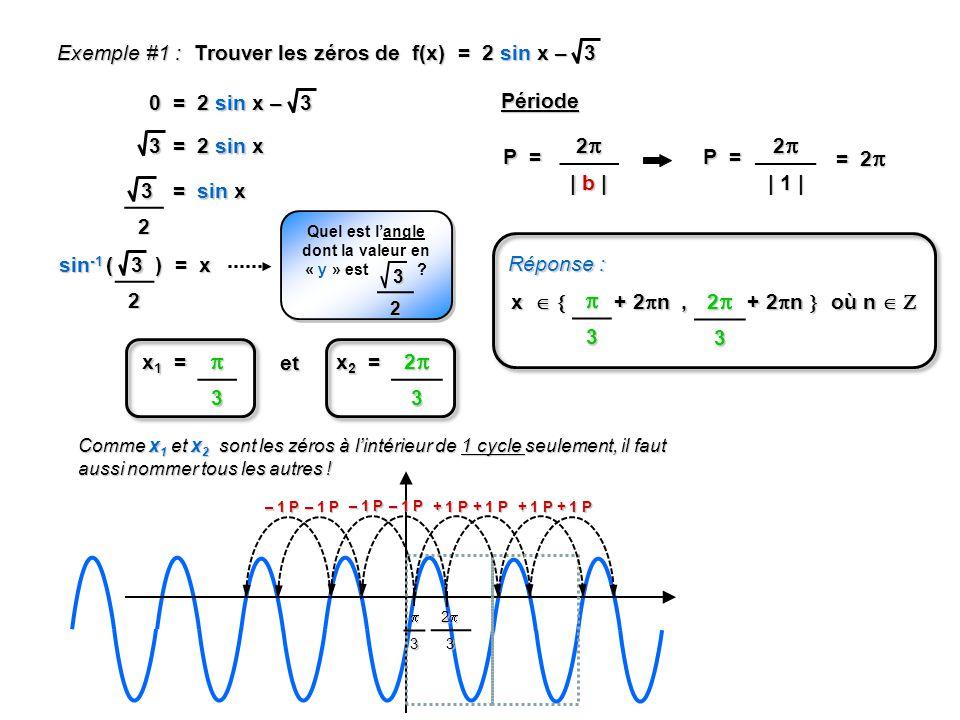 Exemple #1 : Trouver les zéros de f(x) = 2 sin x – 3 0 = 2 sin x – 3 3 = 2 sin x 32 = sin x 32 sin -1 ( ) = x Quel est langle dont la valeur en « y »