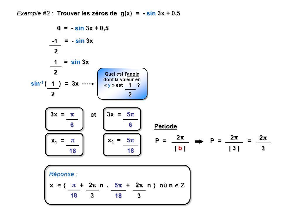 6 3x = 56 et P = 2 | b | 2 | 3 | P = Période Réponse : x + n, + n où n x + n, + n où n 18 518 sin -1 ( ) = 3x Exemple #2 : Trouver les zéros de g(x) = - sin 3x + 0,5 0 = - sin 3x + 0,5 = - sin 3x 12 = sin 3x 12 Quel est langle dont la valeur en « y » est .