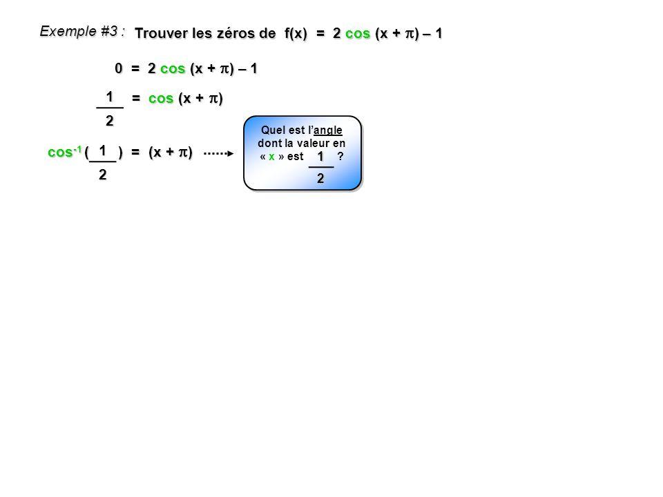 cos -1 ( ) = (x + ) Exemple #3 : Trouver les zéros de f(x) = 2 cos (x + ) – 1 0 = 2 cos (x + ) – 1 = cos (x + ) 12 Quel est langle dont la valeur en «