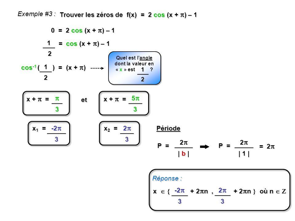 cos -1 ( ) = (x + ) Exemple #3 : Trouver les zéros de f(x) = 2 cos (x + ) – 1 0 = 2 cos (x + ) – 1 = cos (x + ) – 1 12 Quel est langle dont la valeur en « x » est .