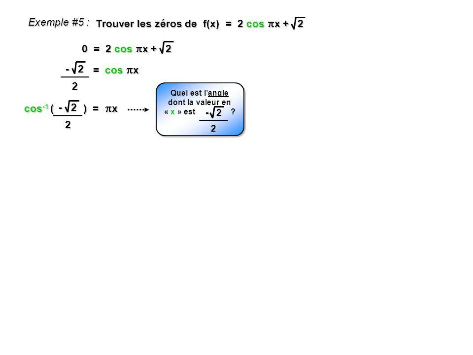 cos -1 ( ) = x Exemple #5 : Trouver les zéros de f(x) = 2 cos x + 2 0 = 2 cos x + 2 = cos x - 2 2 Quel est langle dont la valeur en « x » est ? - 2 2