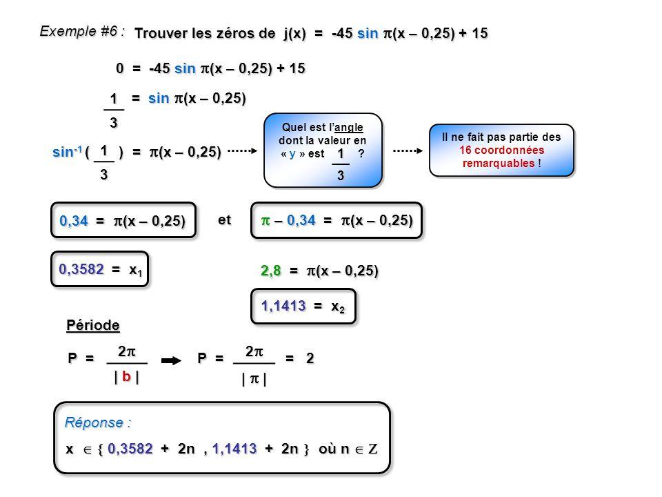 sin -1 ( ) = (x – 0,25) Exemple #6 : Trouver les zéros de j(x) = -45 sin (x – 0,25) + 15 0 = -45 sin (x – 0,25) + 15 = sin (x – 0,25) 13 Quel est lang