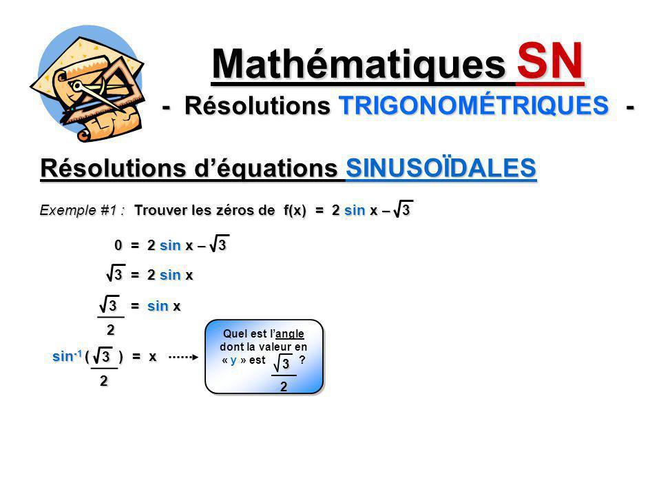 Mathématiques SN - Résolutions TRIGONOMÉTRIQUES - Résolutions déquations SINUSOÏDALES Exemple #1 : Trouver les zéros de f(x) = 2 sin x – 3 0 = 2 sin x