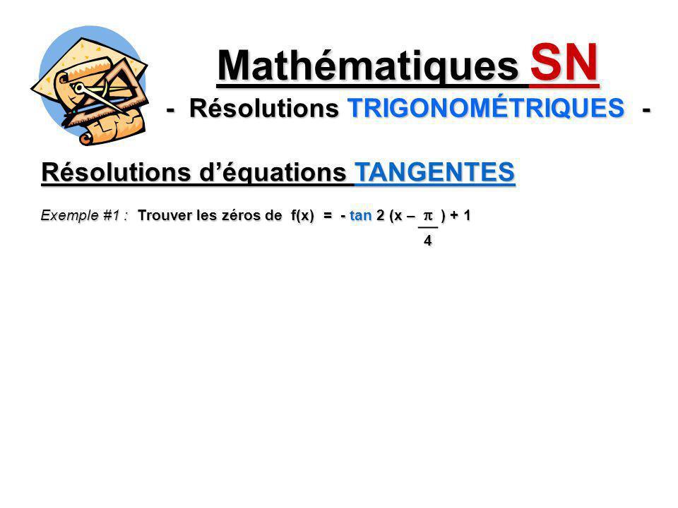Résolutions déquations TANGENTES Exemple #1 : Trouver les zéros de f(x) = - tan 2 (x – ) + 1 4 Mathématiques SN - Résolutions TRIGONOMÉTRIQUES -