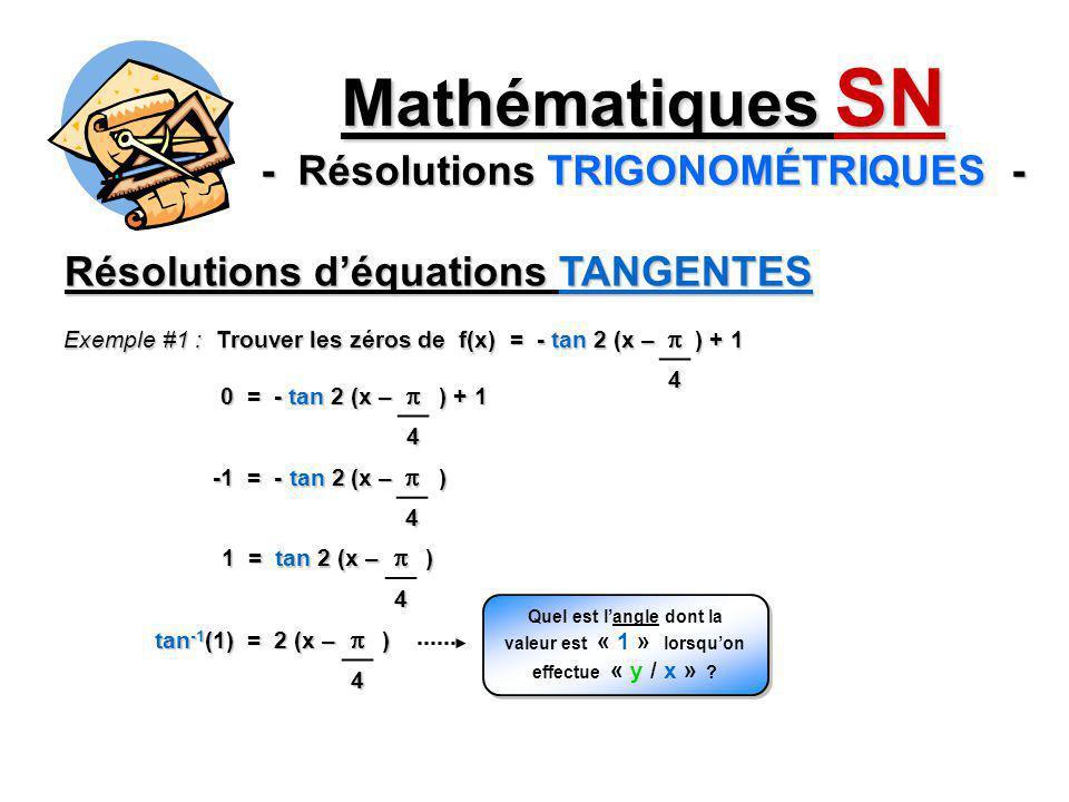 Résolutions déquations TANGENTES 0 = - tan 2 (x – ) + 1 Exemple #1 : Trouver les zéros de f(x) = - tan 2 (x – ) + 1 4 4 -1 = - tan 2 (x – ) 4 1 = tan