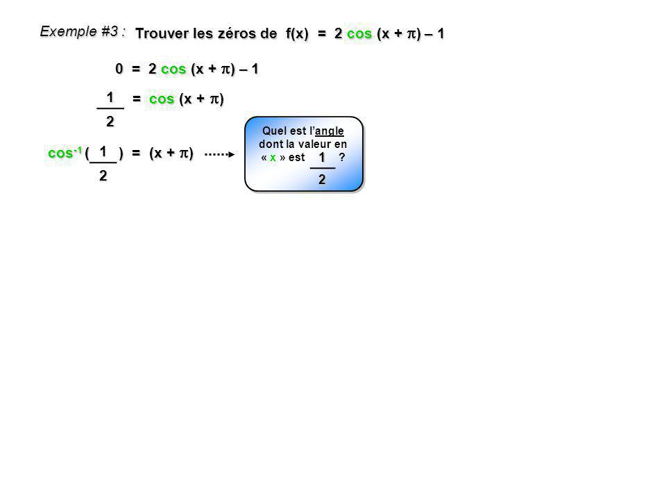sin -1 ( ) = (x – 0,25) Exemple #6 : Trouver les zéros de j(x) = -45 sin (x – 0,25) + 15 0 = -45 sin (x – 0,25) + 15 = sin (x – 0,25) 13 Quel est langle dont la valeur en « y » est .
