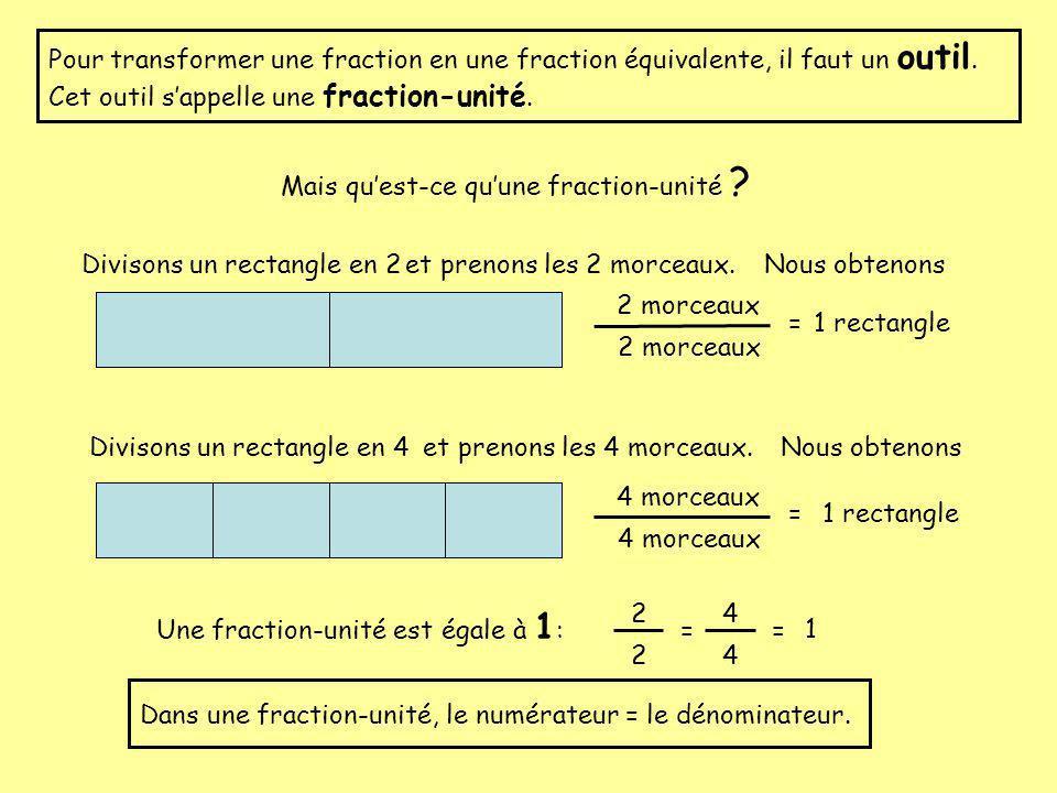 Tu sais sûrement que:3 x 1 = 3 125 x 1 = 125 donc 1 2 X 1 = 1 2 Comme les fractions unités sont égales à 1, on peut donc multiplier une fraction par une fraction unité sans changer la quantité que représente cette fraction.