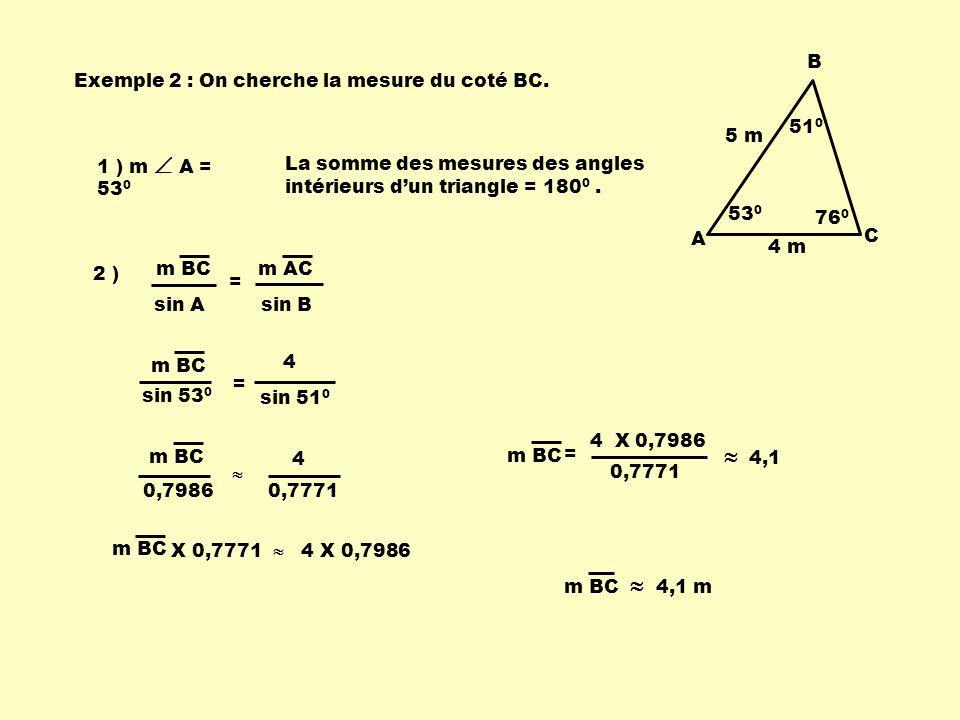 Exemple 2 : On cherche la mesure du coté BC.