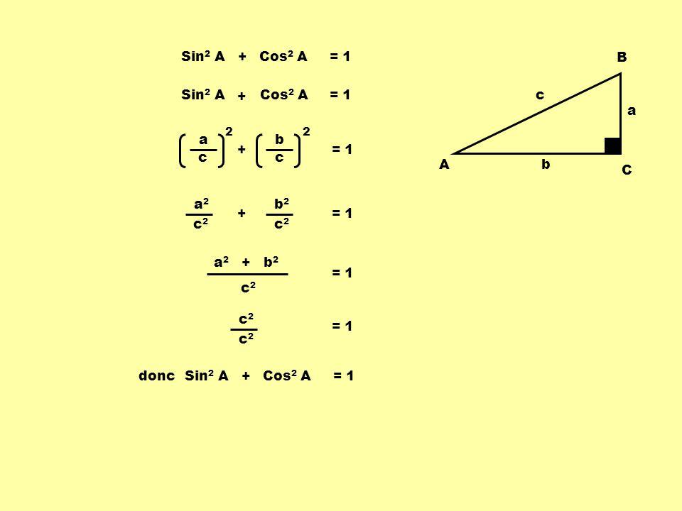 A B C b a c Sin 2 A + Cos 2 A = 1 a2a2 c2c2 a c 2 b c 2 = 1 b2b2 c2c2 + a 2 + b 2 c2c2 = 1 c2c2 c2c2 doncSin 2 A + Cos 2 A = 1 Sin 2 A + + Cos 2 A = 1