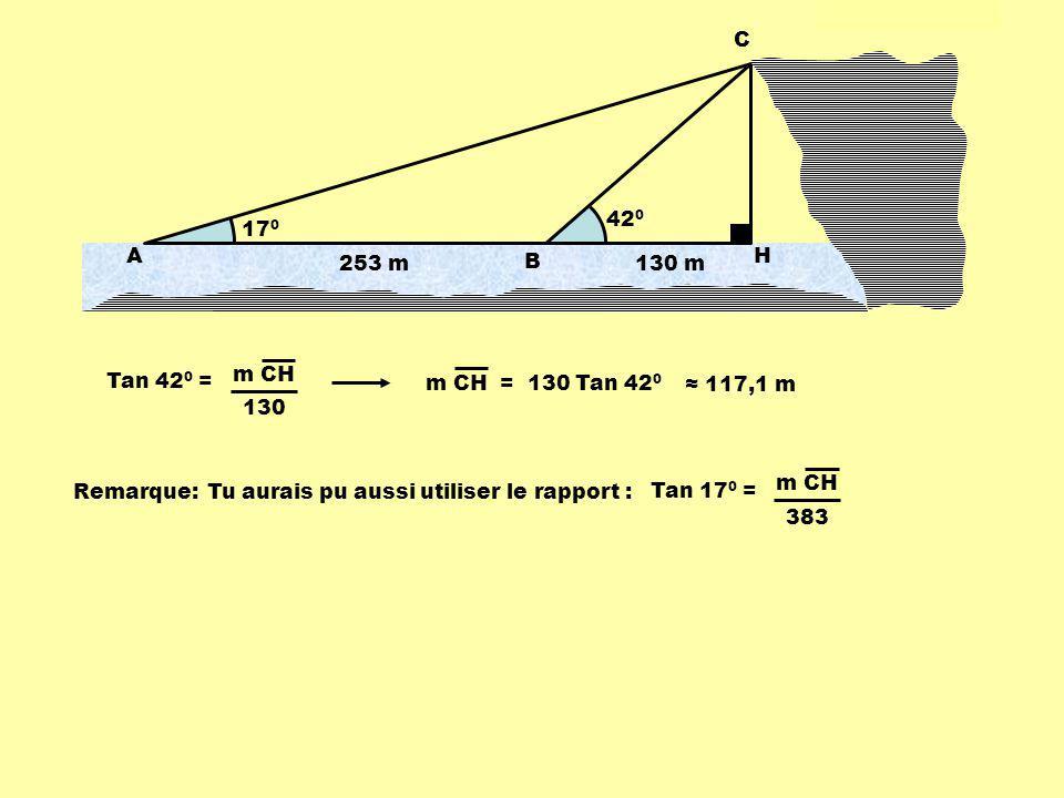 42 0 17 0 253 m A B C H 130 m Tan 42 0 = m CH 130 m CH = 130 Tan 42 0 117,1 m Remarque:Tu aurais pu aussi utiliser le rapport : Tan 17 0 = m CH 383