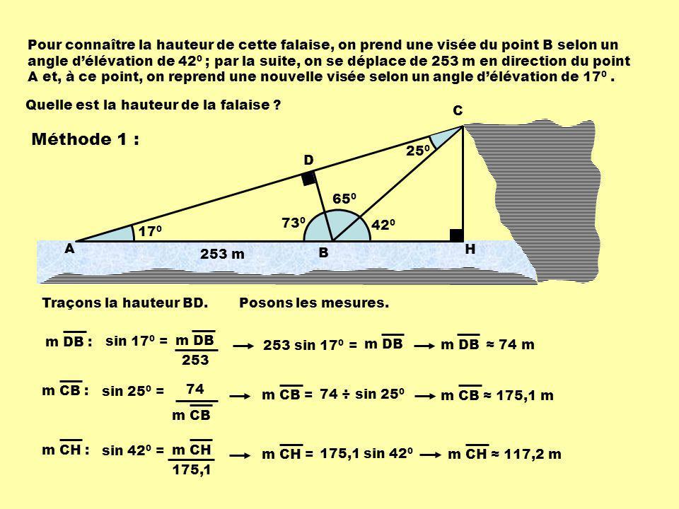 65 0 73 0 42 0 17 0 Pour connaître la hauteur de cette falaise, on prend une visée du point B selon un angle délévation de 42 0 ; par la suite, on se