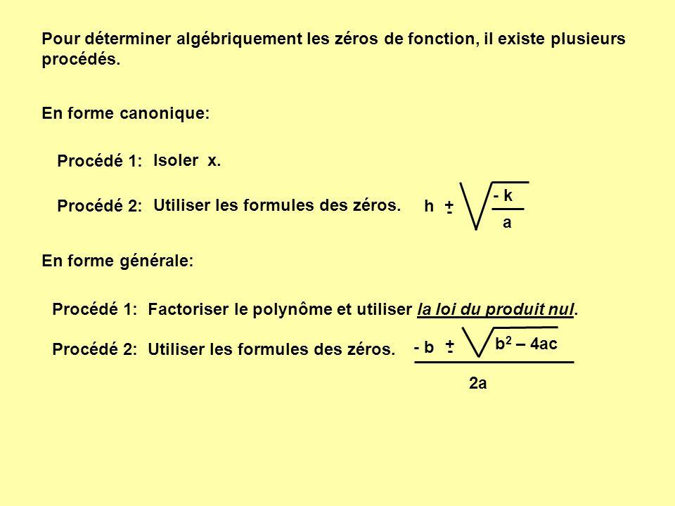 Avec la forme canonique: Procédé 1: f(x) = 1 ( x - 1 ) 2 - 4 0 = 1 ( x - 1 ) 2 - 4 4 = ( x - 1 ) 2 + - 2 = ( x - 1 ) + 2 = x - 1 si alors + 1 3 = x - 2 = x - 1si alors + 1 - 1 = x x 1 = - 1 x 2 = 3 0 = ( x - 1 ) 2 - 4 0 = ( - 1 - 1 ) 2 - 4 0 = ( 3 - 1 ) 2 - 4 Vérifions: Un nombre possède 2 racines.