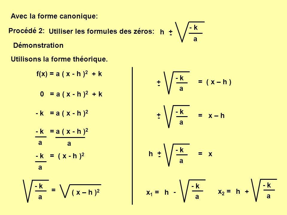 Ainsi, dans la fonction :f(x) = 1 ( x - 1 ) 2 - 4 a = 1 h = 1 k = - 4 - k a = x h + - - - 4 1 = x 1 + - 4 1 + - 1 + - 2 x 1 = 1 – 2 = - 1x 2 = 1 + 2 = 3 x 1 = - 1 x 2 = 3