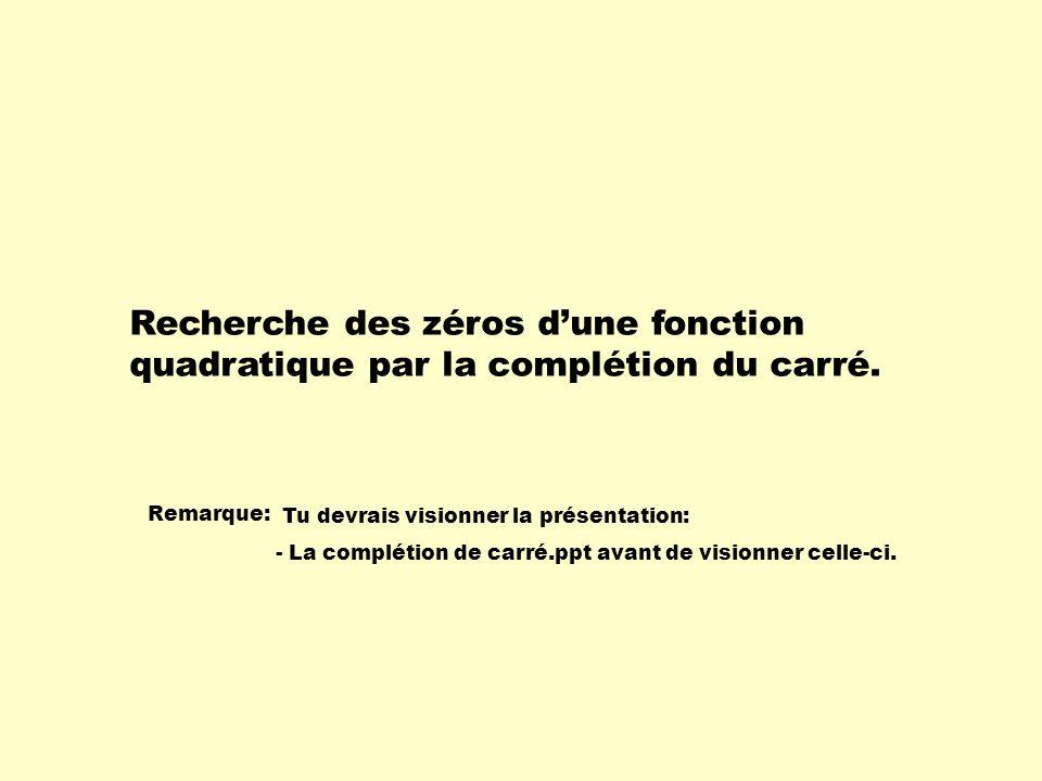 La technique de complétion du carré permet de déterminer les zéros de fonction.