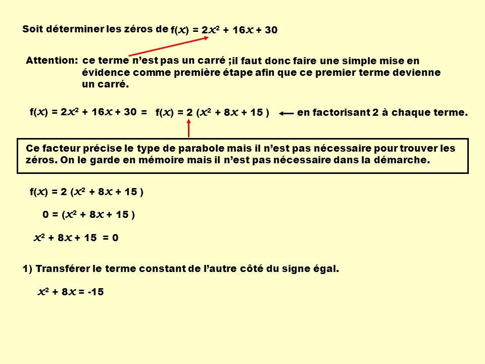 f( x ) = 2 x 2 + 16 x + 30 Attention: évidence comme première étape afin que ce premier terme devienne un carré.