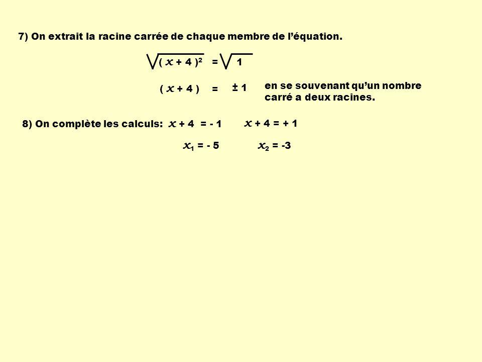 7) On extrait la racine carrée de chaque membre de léquation. ( x + 4 ) 2 = 1 ( x + 4 ) = ± 1 en se souvenant quun nombre carré a deux racines. 8) On