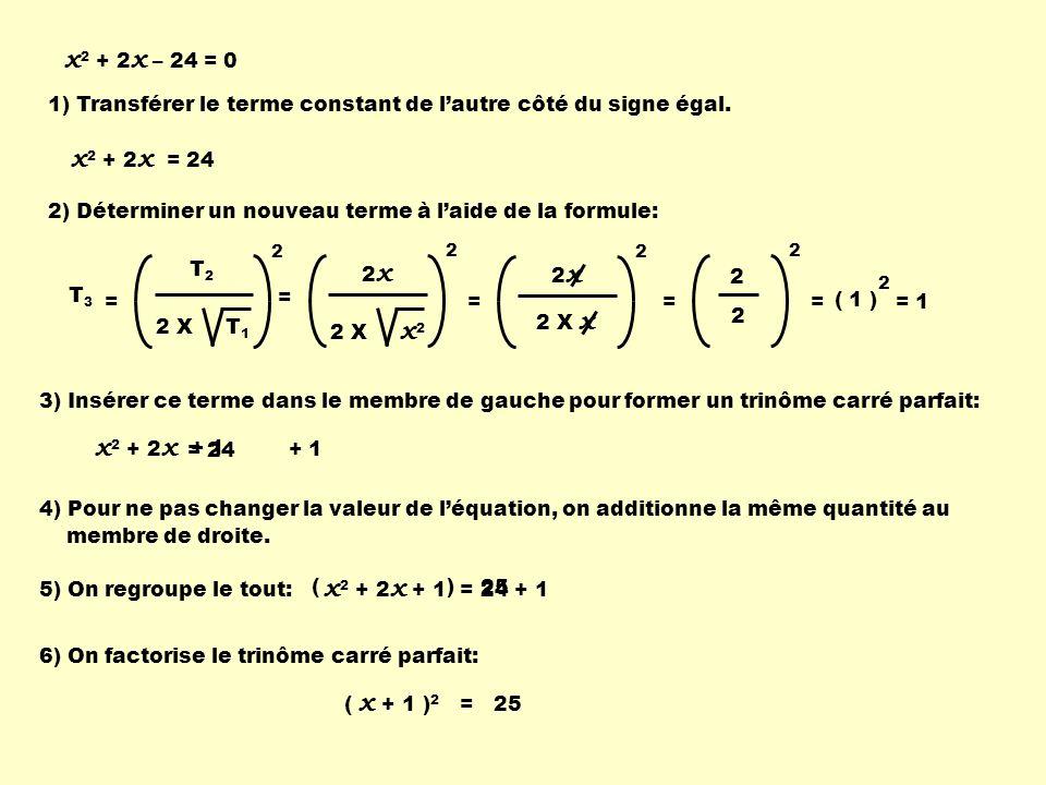 1) Transférer le terme constant de lautre côté du signe égal. 2) Déterminer un nouveau terme à laide de la formule: 2 x 2 X x 2 2 = = 2 x 2 X x 2 2 2