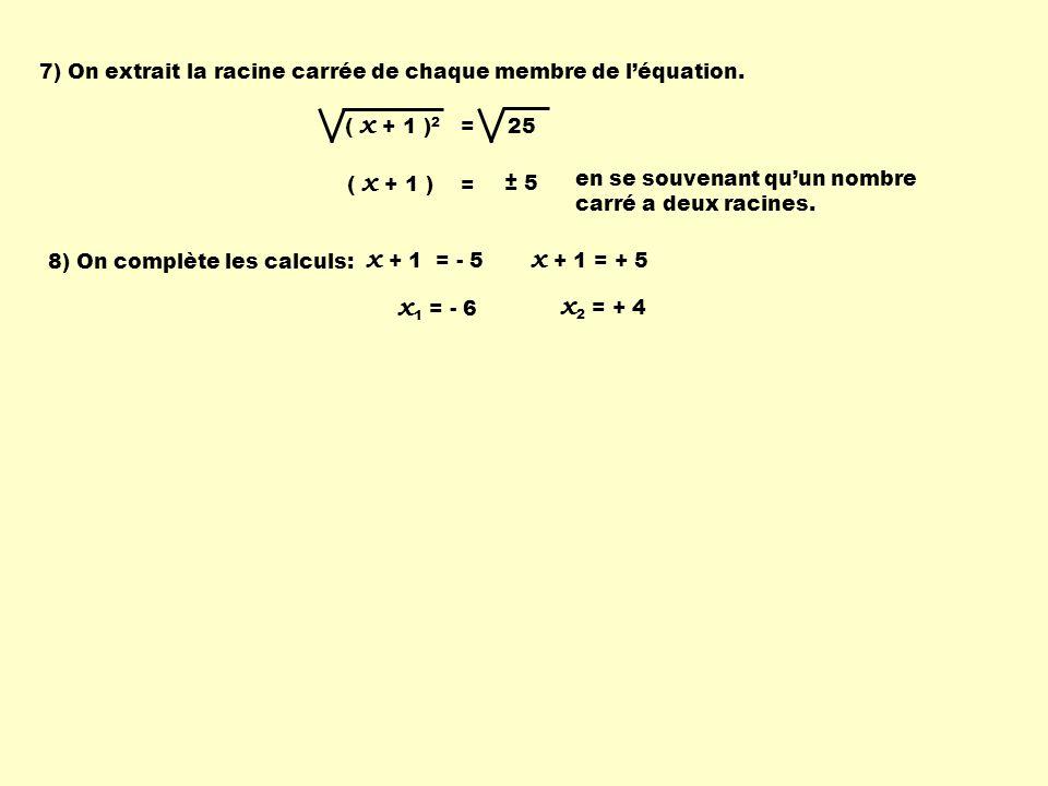 7) On extrait la racine carrée de chaque membre de léquation. ( x + 1 ) 2 = 25 ( x + 1 ) = ± 5 en se souvenant quun nombre carré a deux racines. 8) On