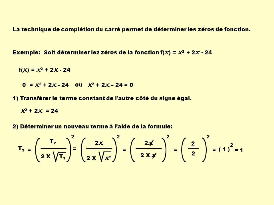 3) Insérer ce terme dans le membre de gauche pour former un trinôme carré parfait: x 2 + 2 x = 24 + 1 4) Pour ne pas changer la valeur de léquation, on additionne la même quantité au membre de droite.