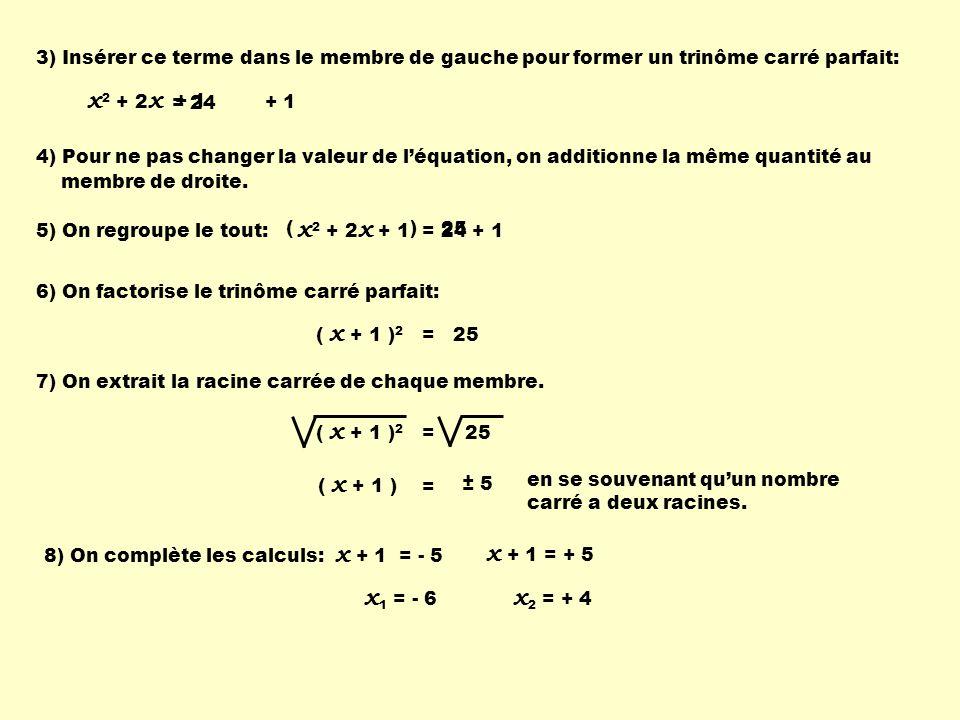 3) Insérer ce terme dans le membre de gauche pour former un trinôme carré parfait: x 2 + 2 x = 24 + 1 4) Pour ne pas changer la valeur de léquation, o