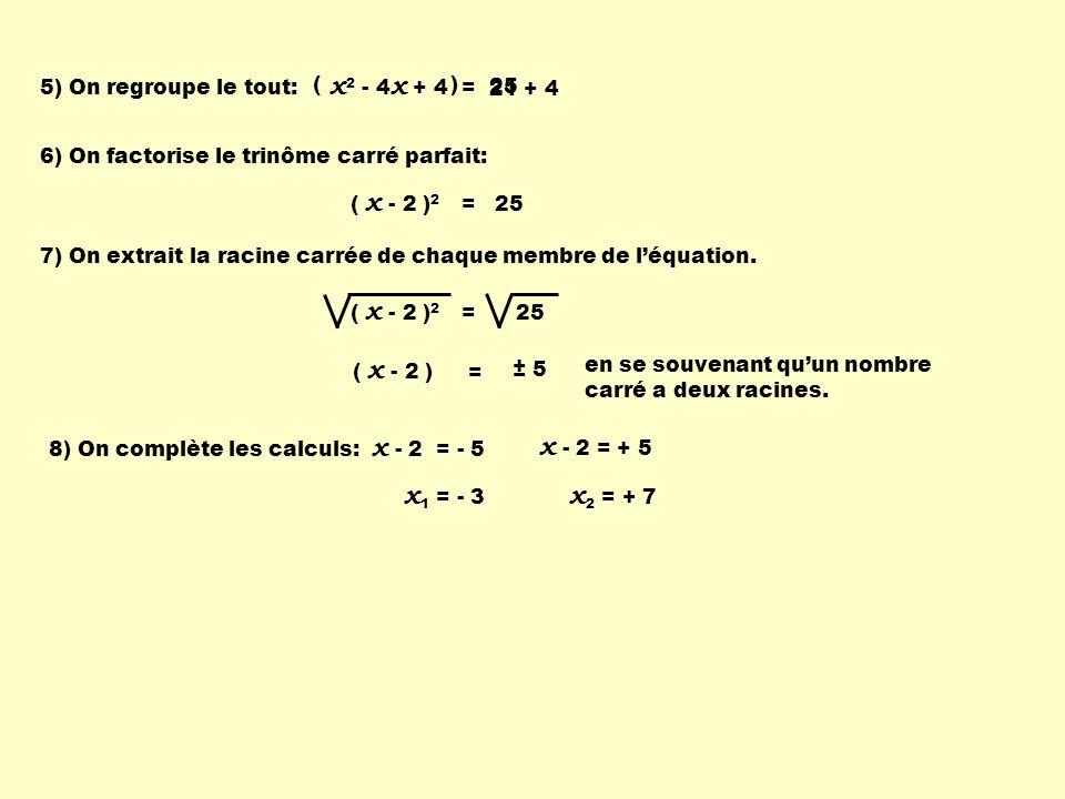 21 + 4 x 2 - 4 x + 4 = 5) On regroupe le tout: ( ) 6) On factorise le trinôme carré parfait: ( x - 2 ) 2 = 25 7) On extrait la racine carrée de chaque