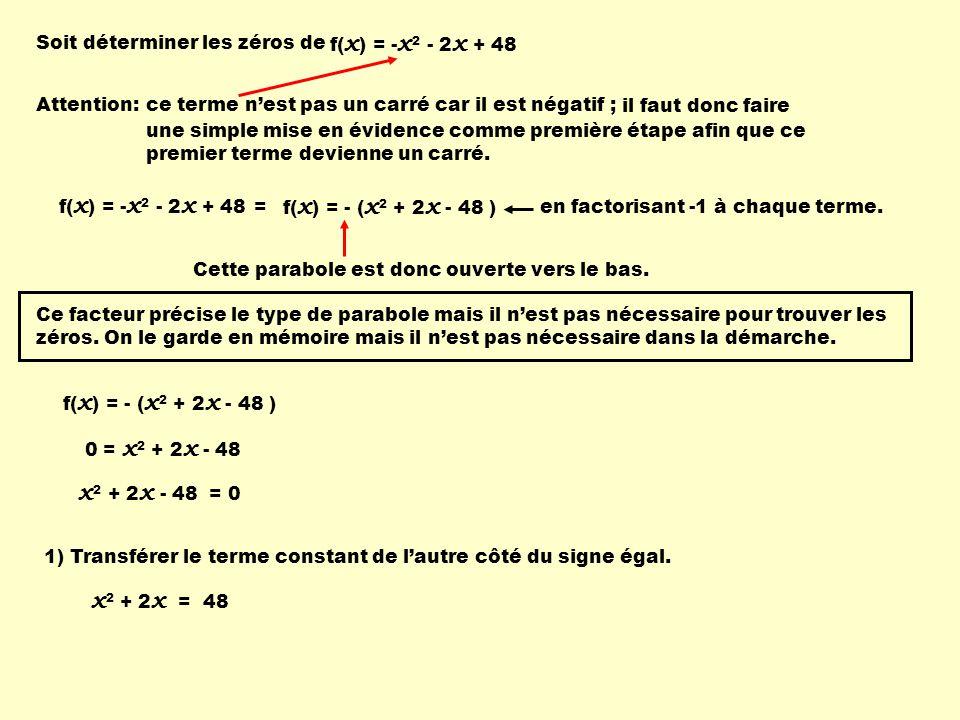 + 1 2) Déterminer un nouveau terme à laide de la formule: 2 x 2 X x 2 2 = = 2 x 2 X x 2 2 2 2 = = 2 ( 1 ) = 1 T2T2 2 X T 1 2 T 3 = 3) Insérer ce terme dans le membre de gauche pour former un trinôme carré parfait: x 2 + 2 x = 48 4) Pour ne pas changer la valeur de léquation, on additionne la même quantité au membre de droite.