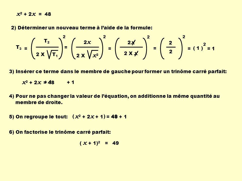 + 1 2) Déterminer un nouveau terme à laide de la formule: 2 x 2 X x 2 2 = = 2 x 2 X x 2 2 2 2 = = 2 ( 1 ) = 1 T2T2 2 X T 1 2 T 3 = 3) Insérer ce terme