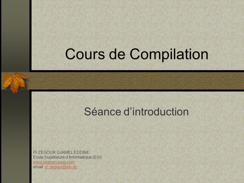 Introduction(Plan/Cours théorique) T4 : Traitement de la sémantique et les grammaires dattribut Traitement sémantique Grammaires dattributs (ATG) Transformations des ATG en un analyseur Exemples dapplications
