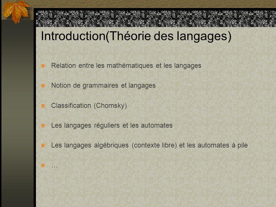 Introduction(Structure des machines) Algèbre de Boole Représentation et codage de linformation Techniques dadressage Exécution dune instruction Les langages dassemblage et les assembleurs …