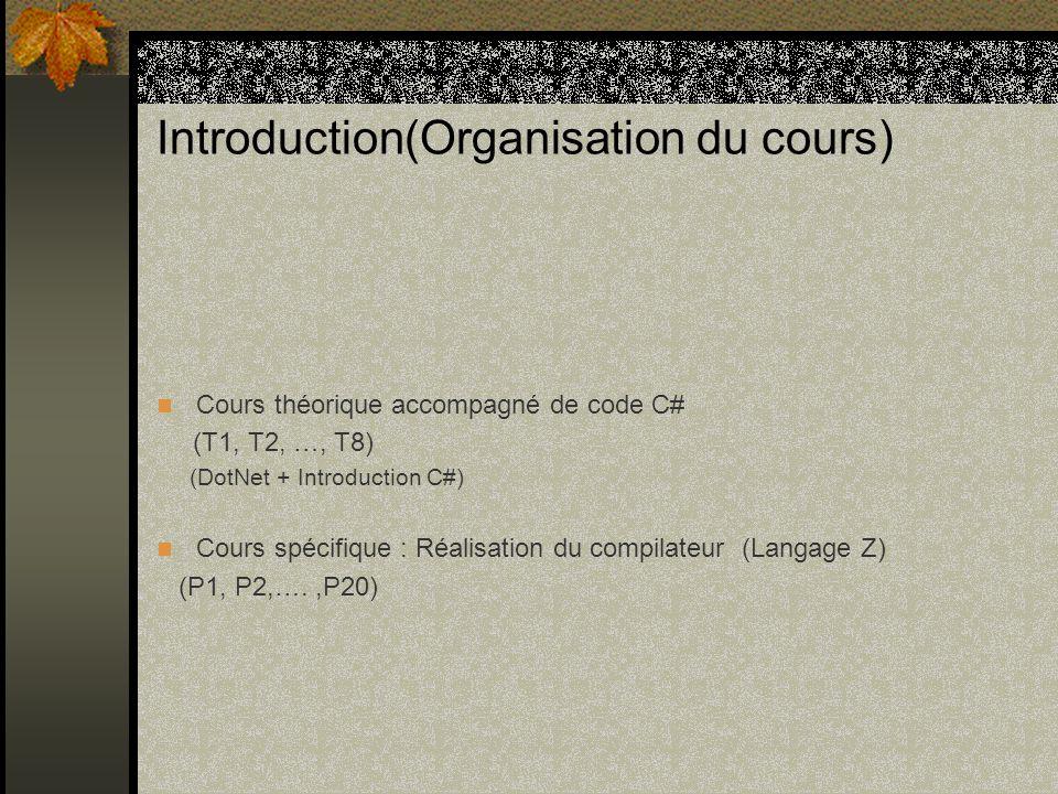 Introduction(Plan/Cours théorique) T1 : Vue générale T2 : Analyse lexicale T3 : Analyse syntaxique T4 : Traitement sémantique et grammaires dattribut T5 : Table des symboles T6 : Génération de code T7 : Les analyseurs Bottom-up T8 : Générateurs de compilateurs