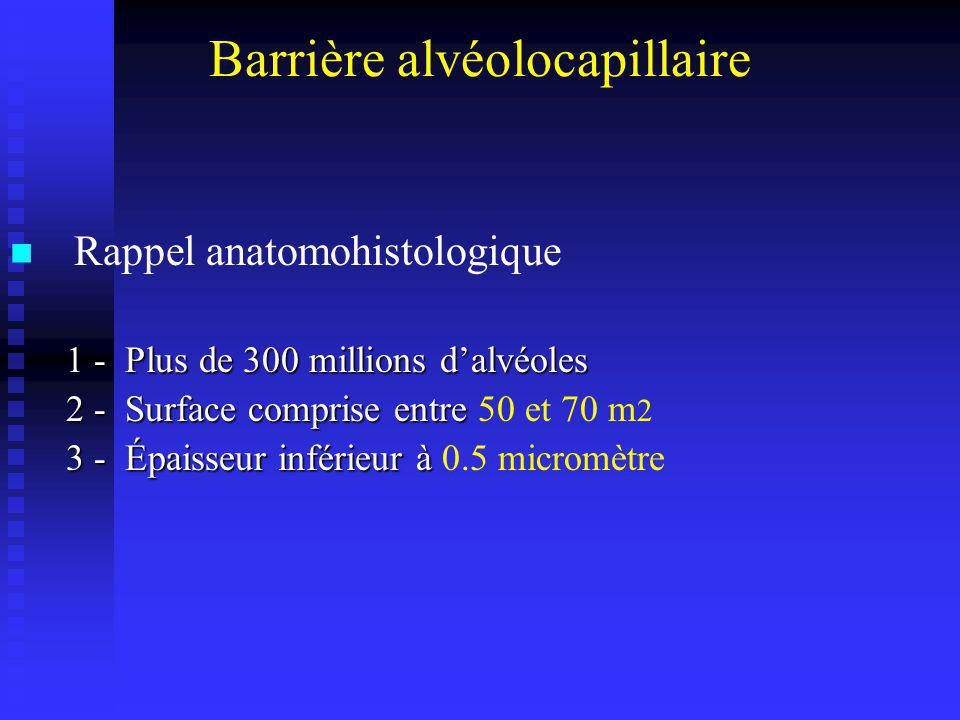 Barrière alvéolocapillaire Composée successivement de : Composée successivement de : 1 - paroi alvéolaire 1 - paroi alvéolaire 2 - liquide interstitiel 2 - liquide interstitiel 3 - paroi capillaire 3 - paroi capillaire 4 - plasma 4 - plasma 5 - hématie 5 - hématie