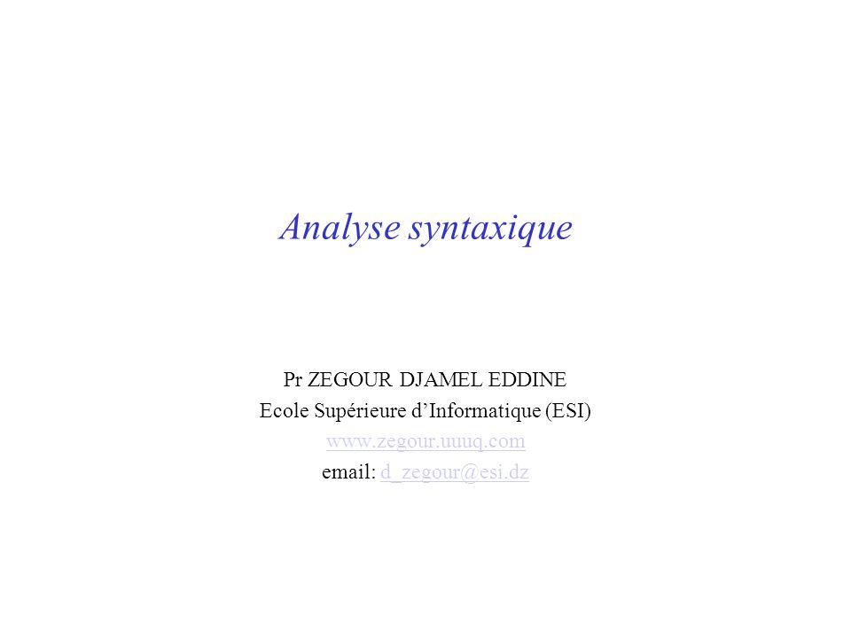 Analyse syntaxique Pr ZEGOUR DJAMEL EDDINE Ecole Supérieure dInformatique (ESI) www.zegour.uuuq.com email: d_zegour@esi.dzd_zegour@esi.dz