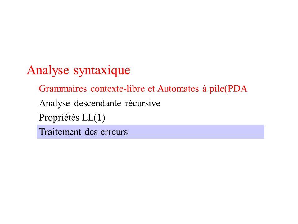 Analyse syntaxique Grammaires contexte-libre et Automates à pile(PDA Analyse descendante récursive Propriétés LL(1) Traitement des erreurs