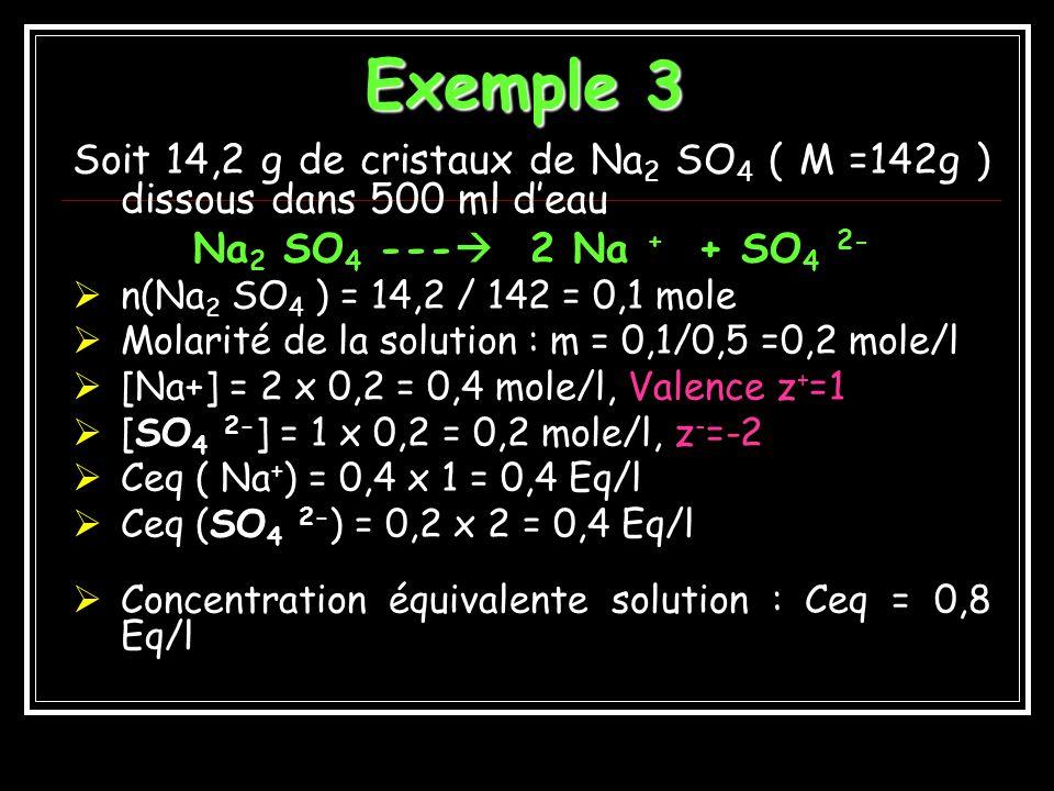 NOTION DEQUIVALENT Solutions ioniques ou électrolytiques CONDUCTRICES DELECTRICITE ( Cation = +, Anion = -) 1 ion gramme de Na + = 1 Equivalent 1 ion gramme de Ca ++, = 2 Equivalents 1 ion gramme de Al +++ = 3 Equivalents