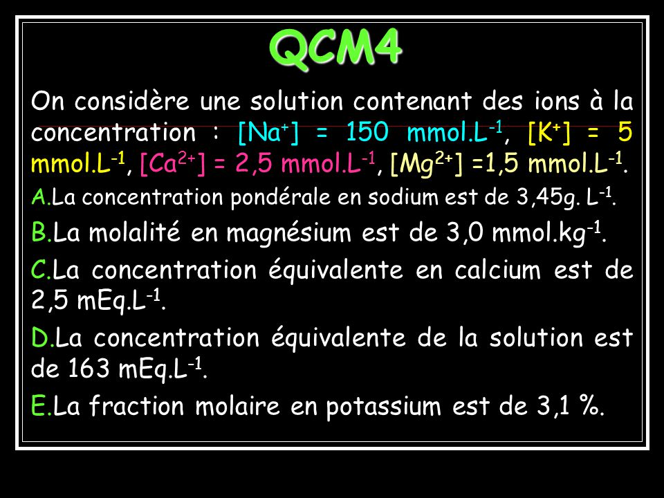 EXEMPLE 6 Solution de (NH 4 ) 2 SO 4, de molarité 2M (NH 4 ) 2 SO 4 2(NH 4 ) + + SO 4 2- C 1 = C(NH 4 ) + = 4M ; v 1 = 1 C 2 = C(SO 4 2-) = 2M ; v 2 =