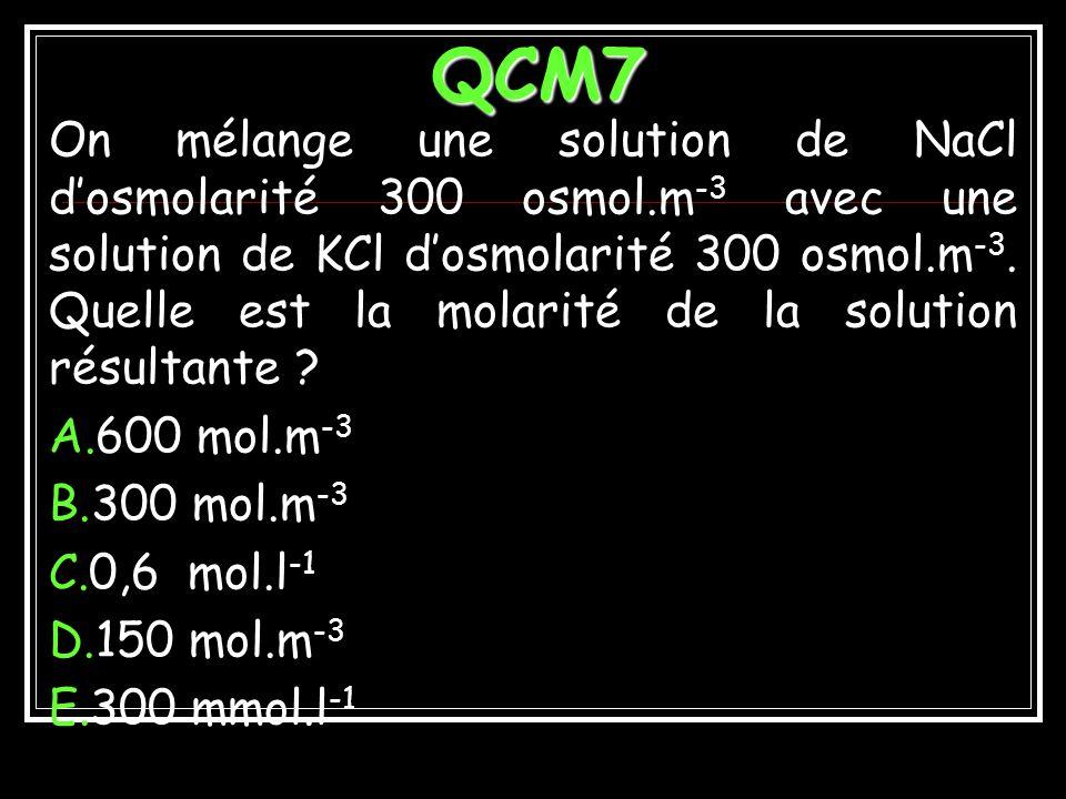 EXEMPLE 9 Solution de molarité m de chlorure de calcium de coefficient de dissociation CaCl 2 2 Cl - + Ca ++ 2m ions-g ou osmoles de Cl - par litre m ions-g ou osmoles de Ca ++ par litre m(1- ) moles non dissociées = m(1- )+ m + 2m =m(1+2 ) Pour m= 0,1 mol.L -1 et =0,6 : = 0,1 ( 1+1,2) = 0,1.2,2 = 0,22 Osmol.L -1 Ceq=4m = 4.