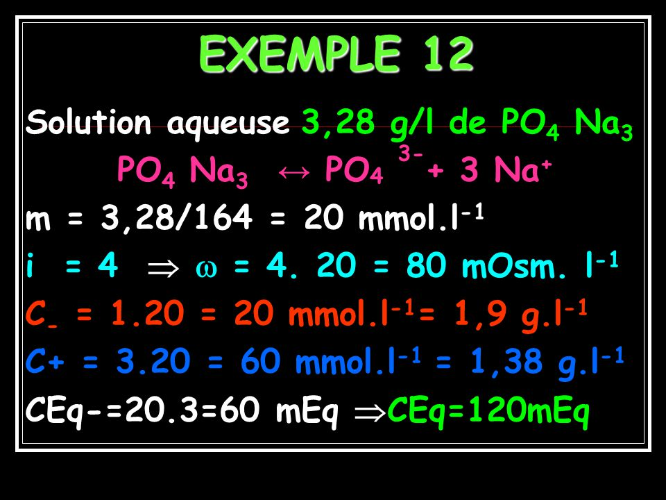 Exemple 11 CH 3 COOH = CH 3 COO - + H + α = 0,1 i = 1 + 0,1(2-1)= 1,1 Solution 2M ; = 2,2 Osm.l -1