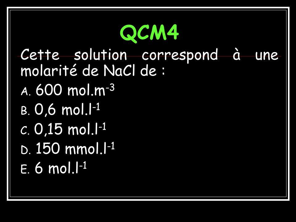 Réponses QCM3 Une solution de NaCl isotonique au plasma a une osmolarité de : A.