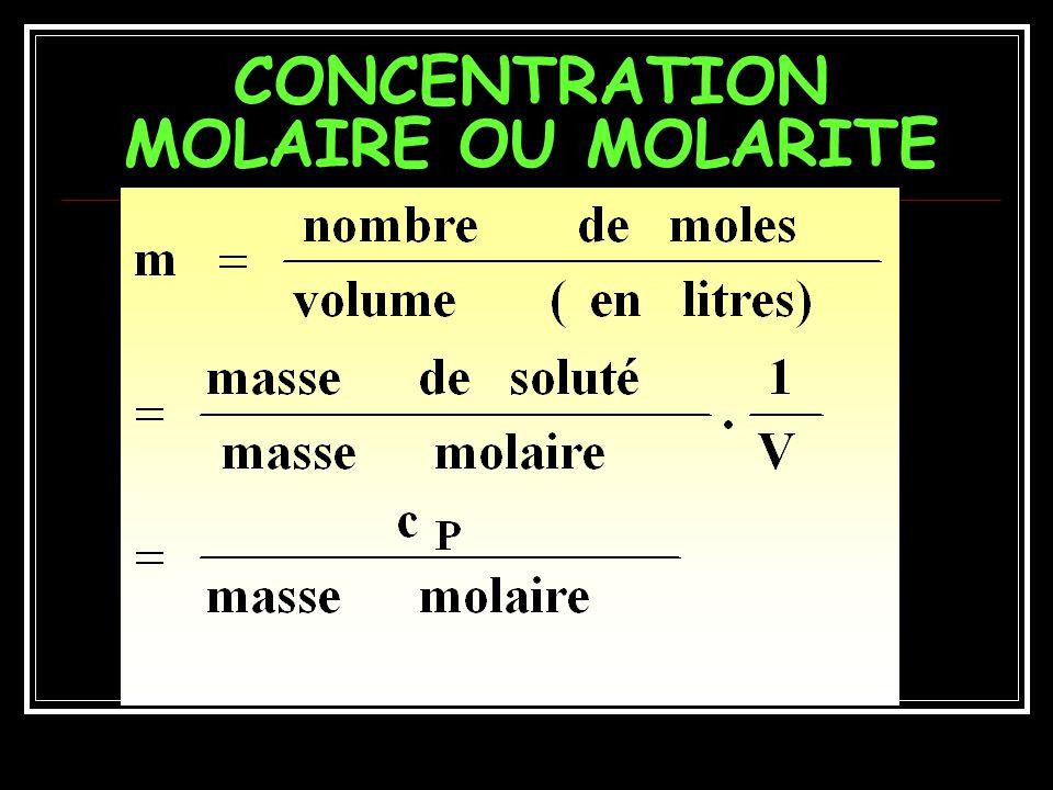 CONCENTRATION EQUIVALENTE DUNE SOLUTION Concentrations équivalentes ADDITIVES Concentration totale en Eq = Ceq anioniques + Ceq cationiques
