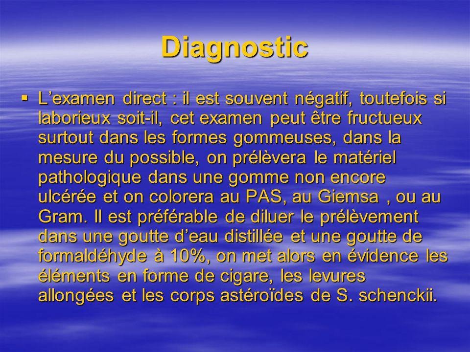 Diagnostic Lexamen direct : il est souvent négatif, toutefois si laborieux soit-il, cet examen peut être fructueux surtout dans les formes gommeuses,