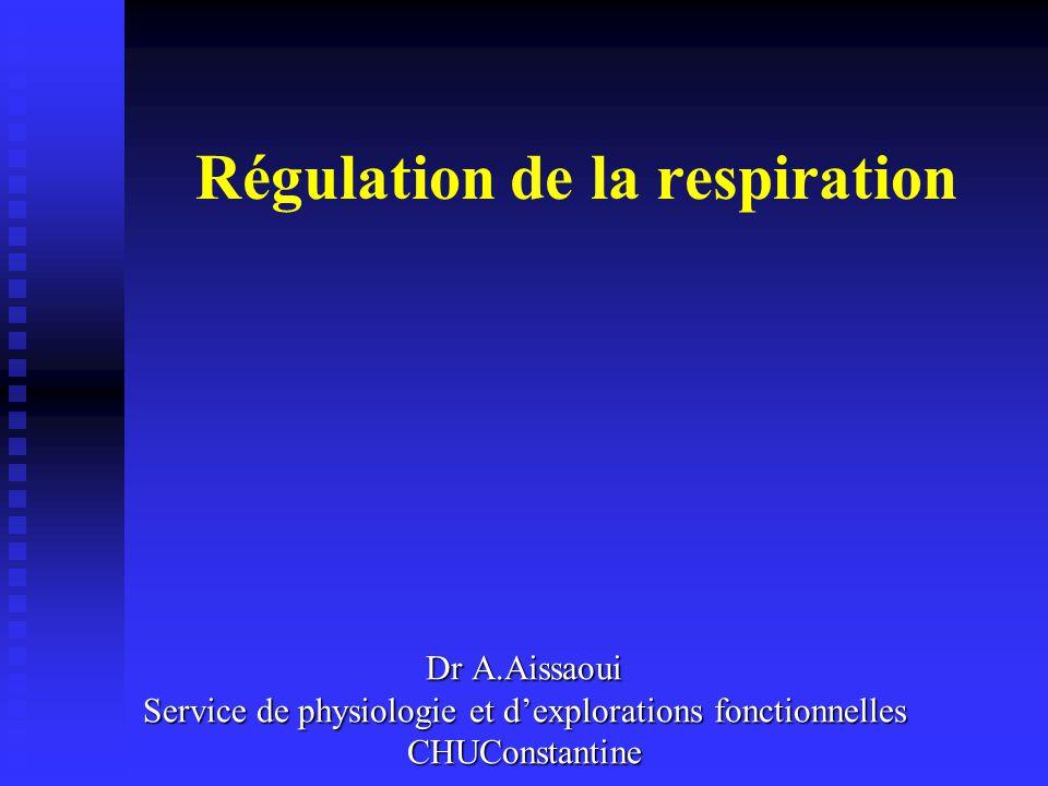 Régulation de la respiration Dr A.Aissaoui Service de physiologie et dexplorations fonctionnelles CHUConstantine