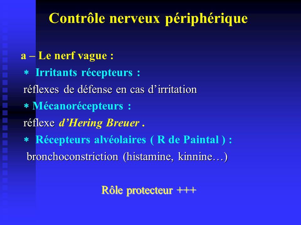 Contrôle nerveux périphérique a – Le nerf vague : Irritants récepteurs : réflexes de défense en cas dirritation réflexes de défense en cas dirritation Mécanorécepteurs : réflexe réflexe dHering Breuer.