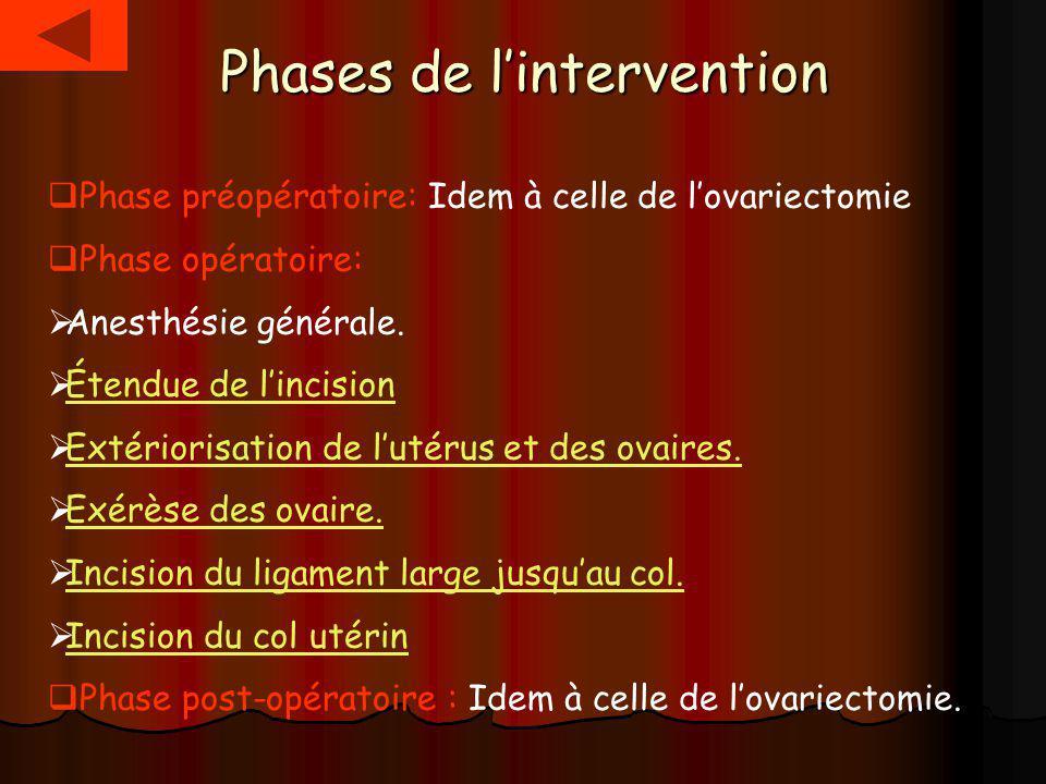 Phases de lintervention Phase préopératoire: Idem à celle de lovariectomie Phase opératoire: Anesthésie générale. Étendue de lincision Extériorisation